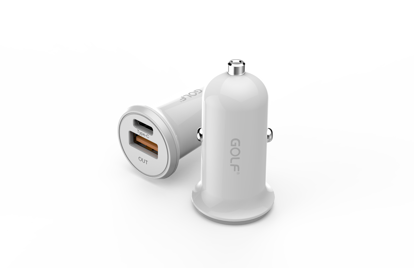 Picture of Golf Golf Dual Car Charger with USB & USB-C ports 3.4A in White (No Cable)